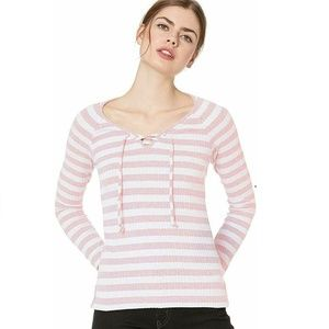 Lucky Brand M Coral Striped Henley Top 7AV48